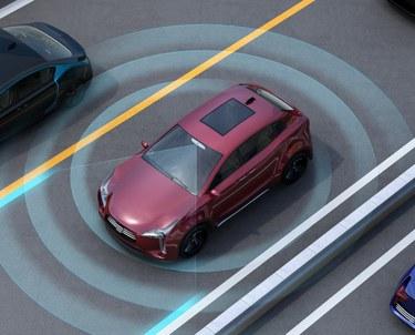 Illustration of autonomous car in regular traffic