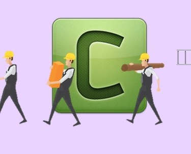 Celery logo with construction workers walking in front