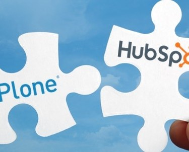 Plone and HubSpot logos on white puzzle pieces