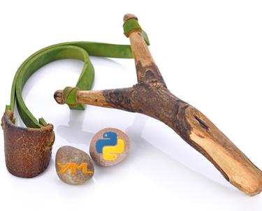 Slingshot with rocks with Python and YAML logos
