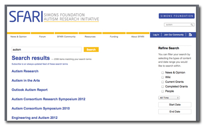 SFARI Federated Search Screenshot