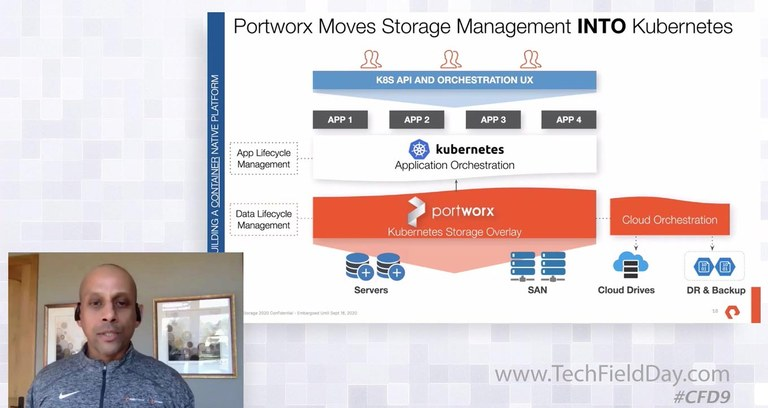 Screenshot from the presentation showing some of the ways Portworx integrates with kubernetes